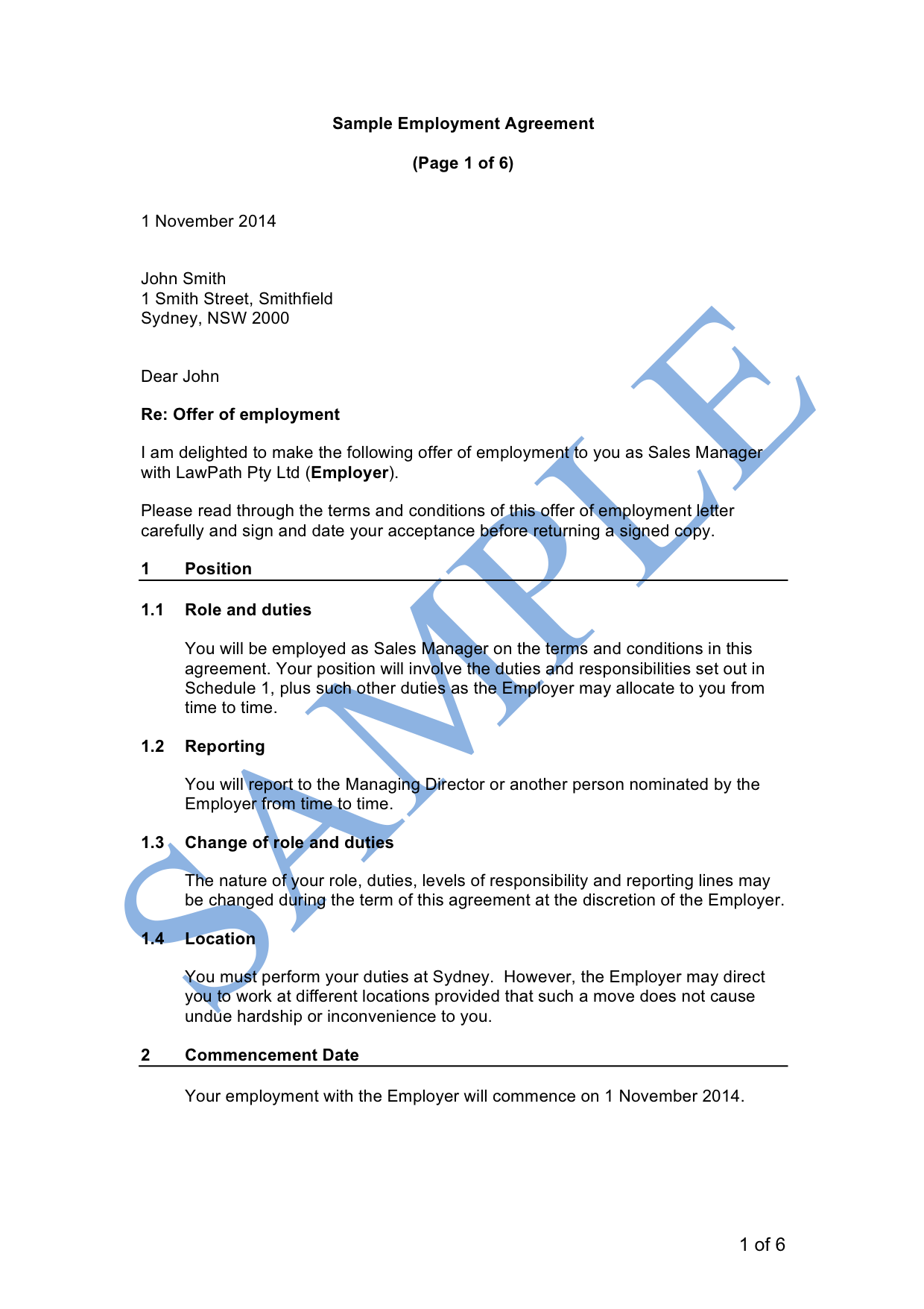 Full Time Employment Agreement